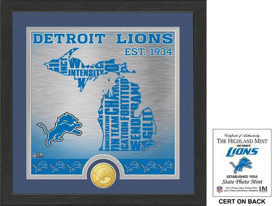 "Detroit Lions ""State"" Bronze Coin Photo Mint  (HM) - 757 Sports Collectibles"