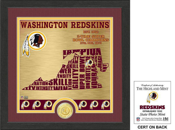 "Washington Redskins ""State"" Bronze Coin Photo Mint  (HM) - 757 Sports Collectibles"