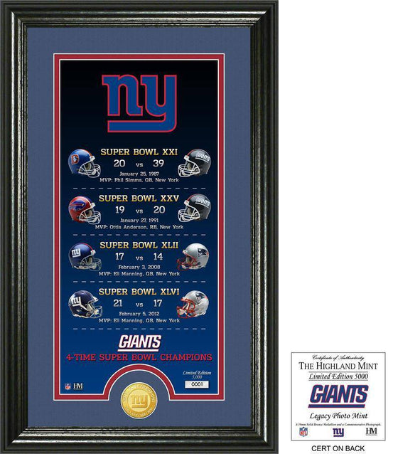 "New York Giants ""Legacy"" Bronze Coin Photo Mint (HM) - 757 Sports Collectibles"