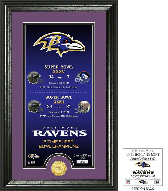 "Baltimore Ravens ""Legacy"" Bronze Coin Photo Mint (HM) - 757 Sports Collectibles"