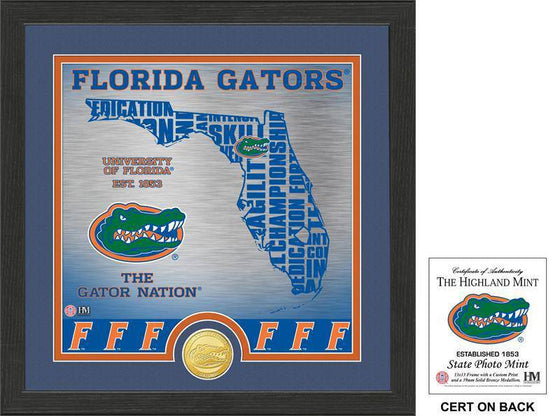 "Florida Gators University of Florida ""State"" Bronze Coin Photo Mint (HM) - 757 Sports Collectibles"