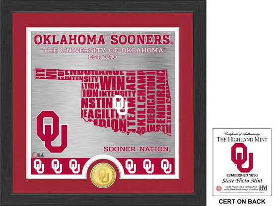 "Oklahoma Sooners University of Oklahoma ""State"" Bronze Coin Photo Mint (HM) - 757 Sports Collectibles"