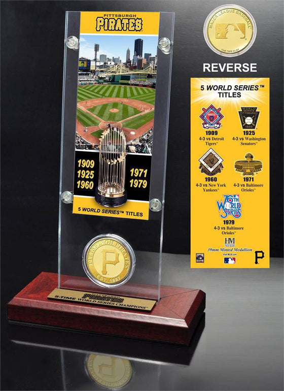 Pittsburgh Pirates World Series Ticket & Bronze Coin Acrylic Desk Top (HM) - 757 Sports Collectibles