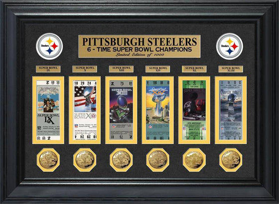 Pittsburgh Steelers Super Bowl Ticket and Game Coin Collection Framed (HM)