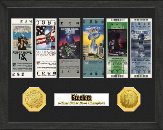 NFL Pittsburgh Steelers 6-Time Super Bowl Champions Framed Tickets w/ Collectible Coins