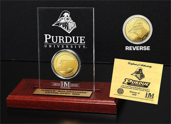 Purdue Boilermakers Purdue University 24KT Gold Coin Etched Acrylic (HM)