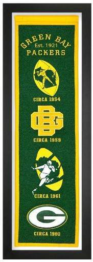 "Green Bay Packers Framed Wool Embroidered Heritage Banner (14""x38"")"