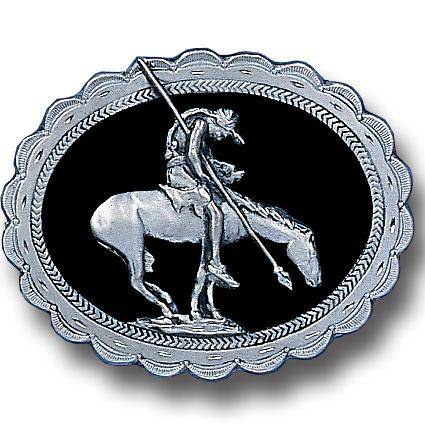 End of the Trail (Diamond Cut) Enameled Belt Buckle (SSKG) - 757 Sports Collectibles