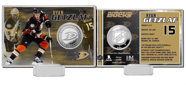 Anaheim Ducks Ryan Getlaf Silver Coin Card (HM)