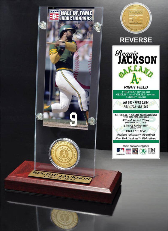"Oakland Athletics Reggie Jackson ""Hall of Fame"" Ticket & Bronze Coin Acrylic Desk Top (HM) - 757 Sports Collectibles"