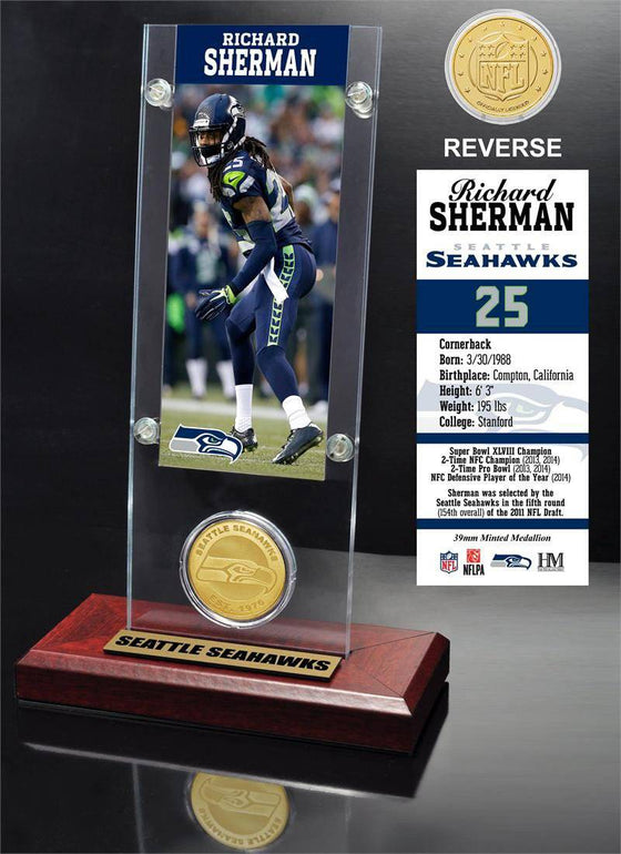 Seattle Seahawks Richard Sherman Ticket & Bronze Coin Acrylic Desk Top (HM)