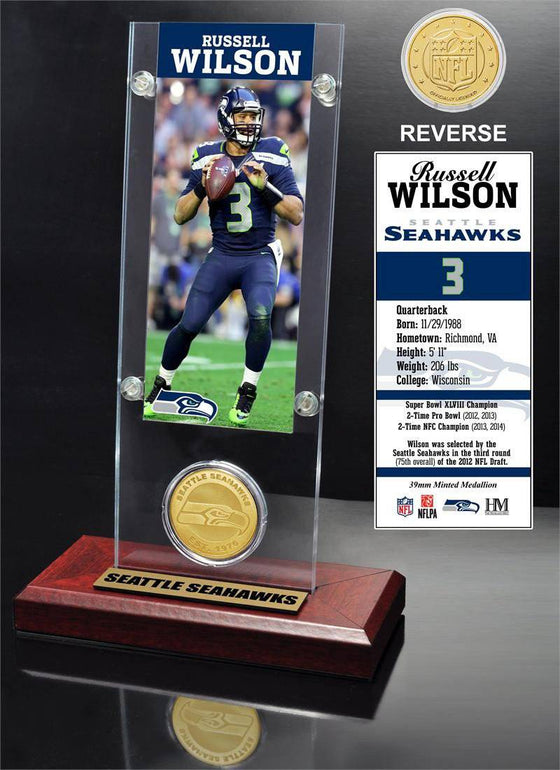 Seattle Seahawks Russell Wilson Ticket & Bronze Coin Acrylic Desk Top (HM) - 757 Sports Collectibles