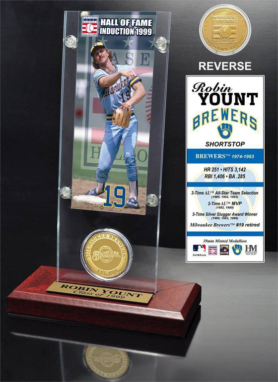 "Milwaukee Brewers Robin Yount ""Hall of Fame"" Ticket & Bronze Coin Acrylic Desk Top (HM)"