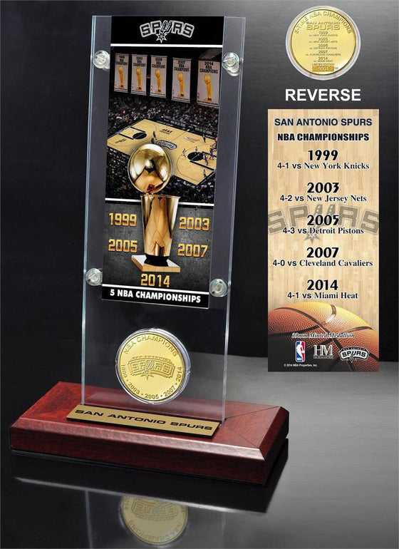San Antonio Spurs 5-time NBA Finals Champions Ticket & Minted Coin Acrylic Desk Top (HM)