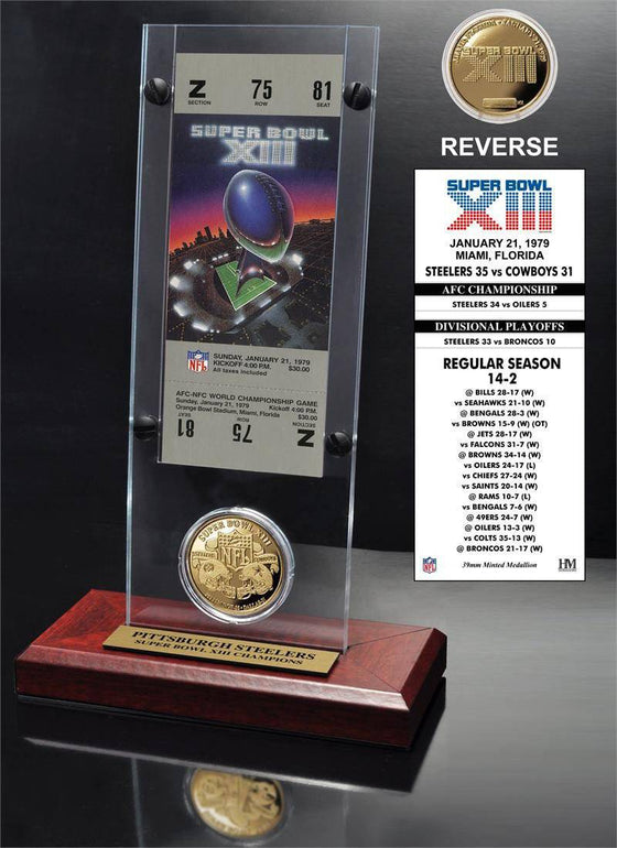 Pittsburgh Steelers Super Bowl 13 Ticket & Game Coin Collection (HM)