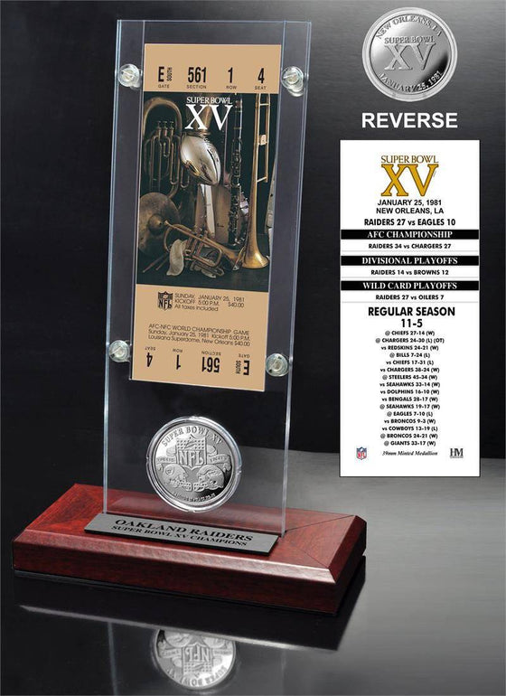 Oakland Raiders Super Bowl 15 Ticket & Game Coin Collection (HM)