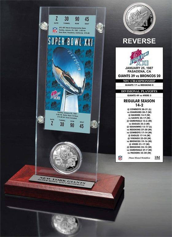 New York Giants Super Bowl 21 Ticket & Game Coin Collection (HM)