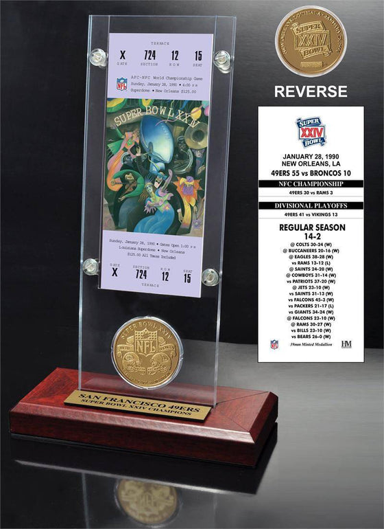 San Francisco 49ers Super Bowl 24 Ticket & Game Coin Collection (HM)