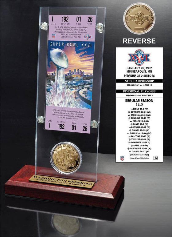 Washington Redskins Super Bowl 26 Ticket & Game Coin Collection (HM)