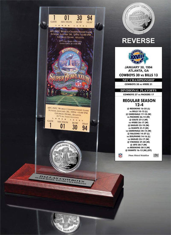 Dallas Cowboys Super Bowl 28 Ticket & Game Coin Collection (HM)