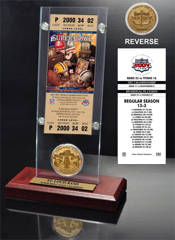 St. Louis Rams Super Bowl 34 Ticket & Game Coin Collection (HM) - 757 Sports Collectibles