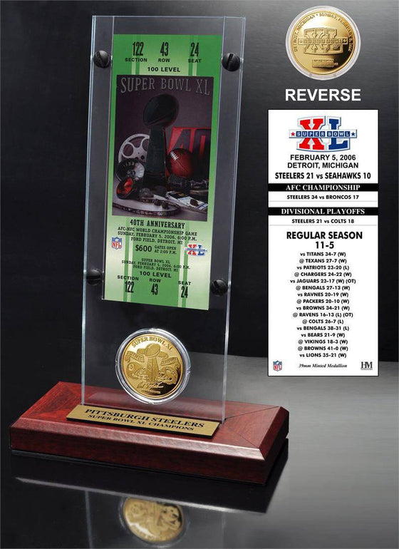 Pittsburgh Steelers Super Bowl 40 Ticket & Game Coin Collection (HM)