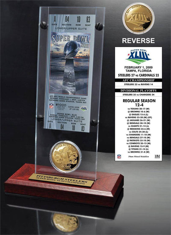 Pittsburgh Steelers Super Bowl 43 Ticket & Game Coin Collection (HM)
