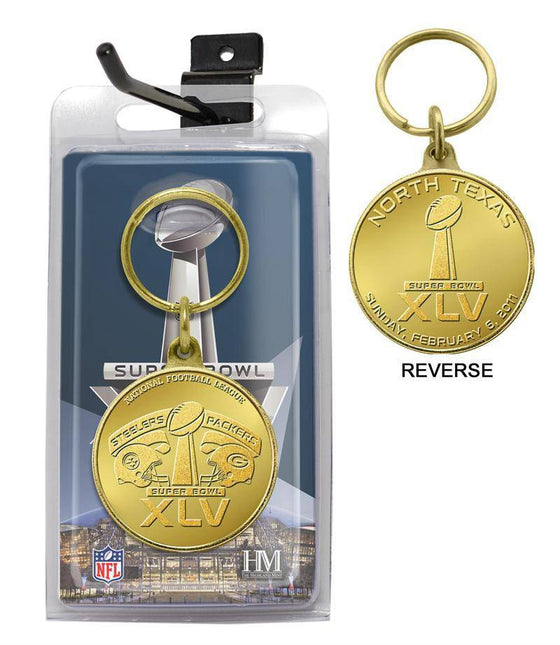Green Bay Packers Super Bowl XLV Flip Coin Keychain (HM) - 757 Sports Collectibles