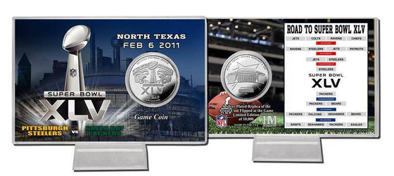 Green Bay Packers Super Bowl XLV Silver Flip Coin Card (HM)