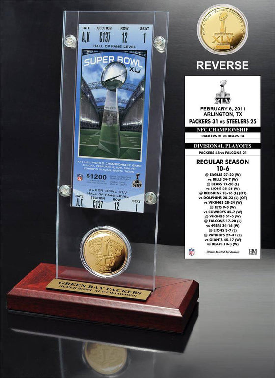 Green Bay Packers Super Bowl 45 Ticket & Game Coin Collection (HM) - 757 Sports Collectibles