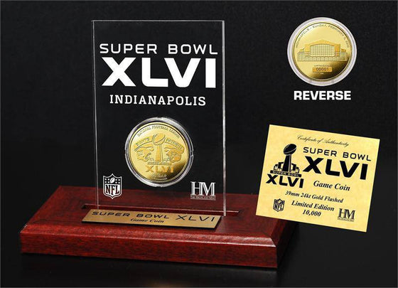 New York Giants Super Bowl XLVI 24KT Gold Flip Coin Desk Top Acrylic (HM)