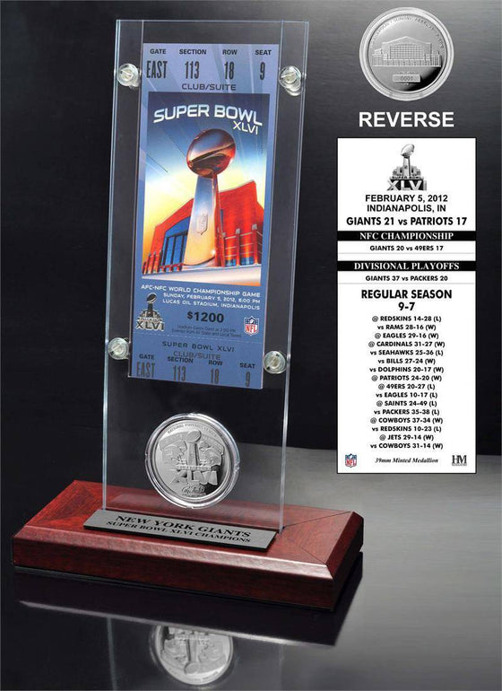 New York Giants Super Bowl 46 Ticket & Game Coin Collection (HM) - 757 Sports Collectibles