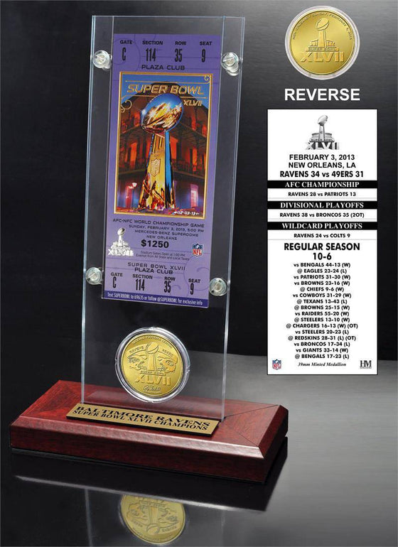 Baltimore Ravens Super Bowl 47 Champions Ticket and Bronze Coin Acrylic (HM)