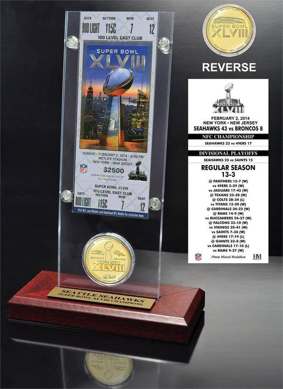 Seattle Seahawks Super Bowl 48 Champions Ticket & Bronze Coin Desktop Acrylic (HM)