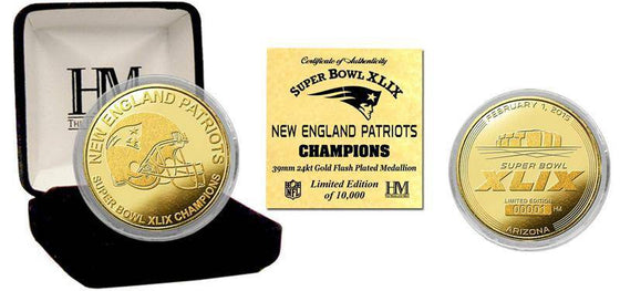 New England Patriots Super Bowl XLIX Champions Gold Mint Coin (HM)