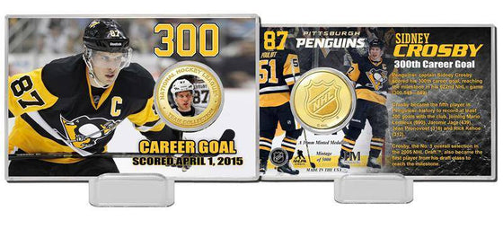 "Pittsburgh Penguins Sidney Crosby ""300 Career Goals"" Bronze Color Coin Card (HM)"