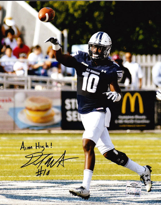 Old Dominion ODU Monarchs David Washigton Signed Autographed 8x10 Photo 'Throw Aim High' (JSA PSA Pass) 757 COA
