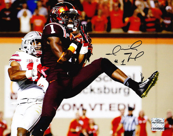 Virginia Tech VT Hokies Isaiah Ford Signed Autographed 8x10 Photo 'OSU' (JSA PSA Pass) 757 COA - 757 Sports Collectibles