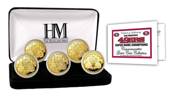 San Francisco 49ers 5-time Super Bowl Champions Gold Game Coin Set (HM) - 757 Sports Collectibles