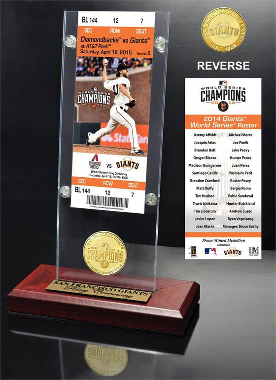 "San Francisco Giants 2014 World Series Champions ""Ring Ceremony"" Ticket & Bronze Coin Acrylic Desk Top (HM)"