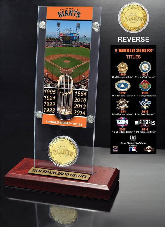 San Francisco Giants 8-time WS Champs Ticket Acrylic & Coin (HM)