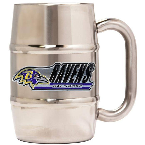"Baltimore Ravens 16oz ""Barrel"" Double Wall Stainless Steel Mug (Logo & Team Name)"