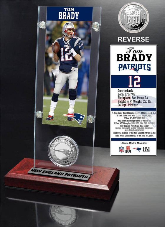 New England Patriots Tom Brady Ticket & Minted Coin Acrylic Desk Top (HM)