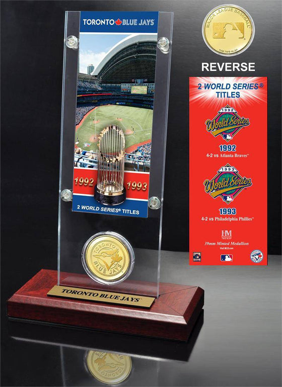 Toronto Blue Jays World Series Ticket & Bronze Coin Acrylic Desktop (HM)