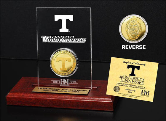 University of Tennessee Volunteers 24KT Gold Coin Etched Acrylic (HM)