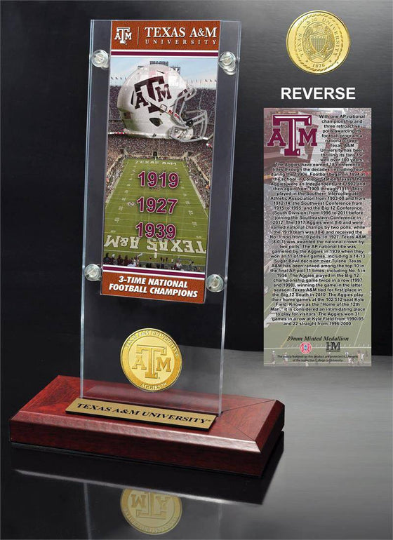 Texas A&M Aggies Texas A&M University Ticket & Bronze Coin Acrylic Desk Top (HM) - 757 Sports Collectibles