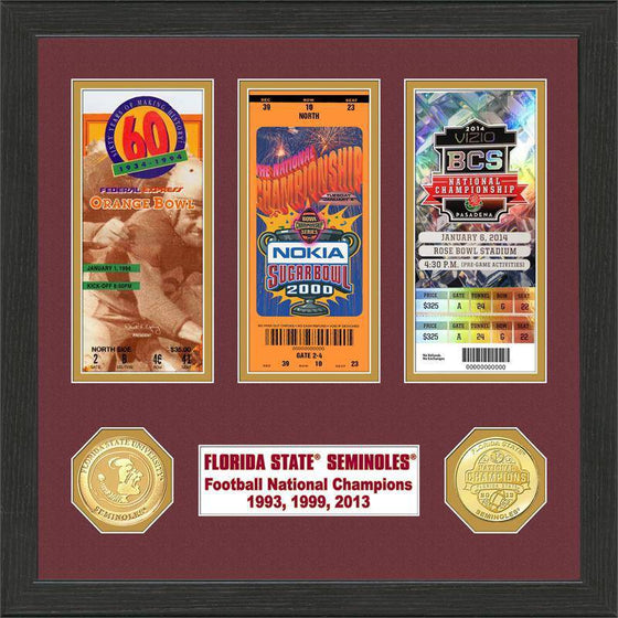 Florida State Seminoles Florida State 2014 BCS National Champions Ticket and Coin Collection (HM)