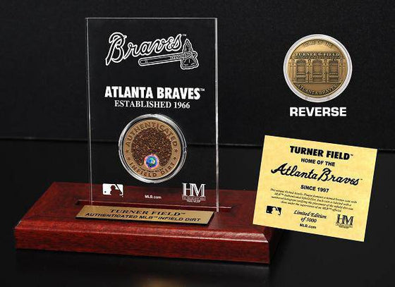Atlanta Braves Turner Field Infield Dirt Coin Etched Acrylic  (HM) - 757 Sports Collectibles