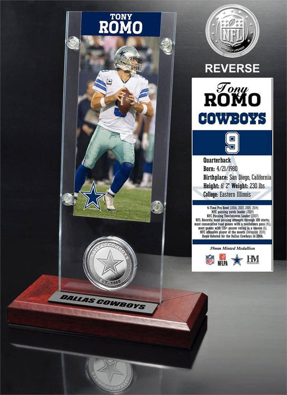 Tony Romo Ticket & Minted Coin Acrylic Desk Top (HM)