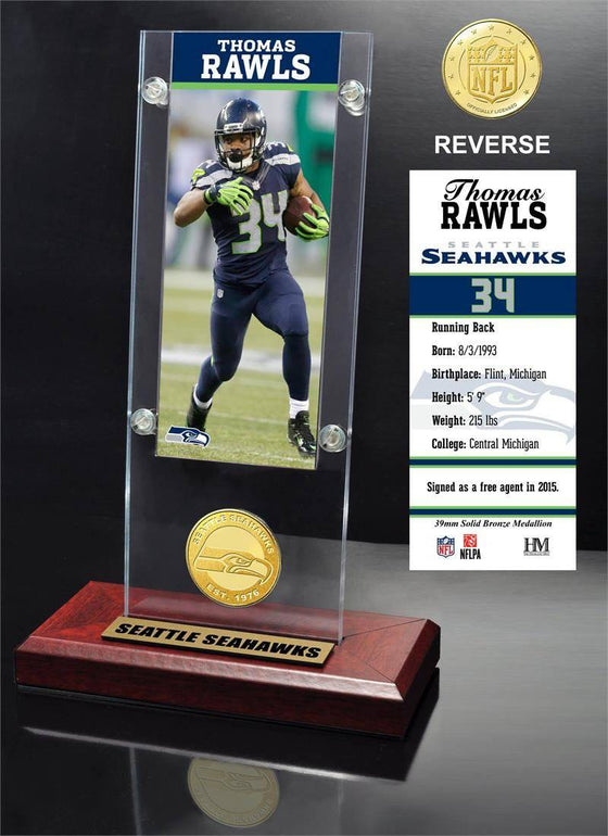 Seattle Seahawks Thomas Rawls Ticket & Bronze Coin Ticket Acrylic (HM) - 757 Sports Collectibles